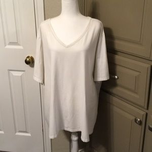 White, v-neck tee shirt